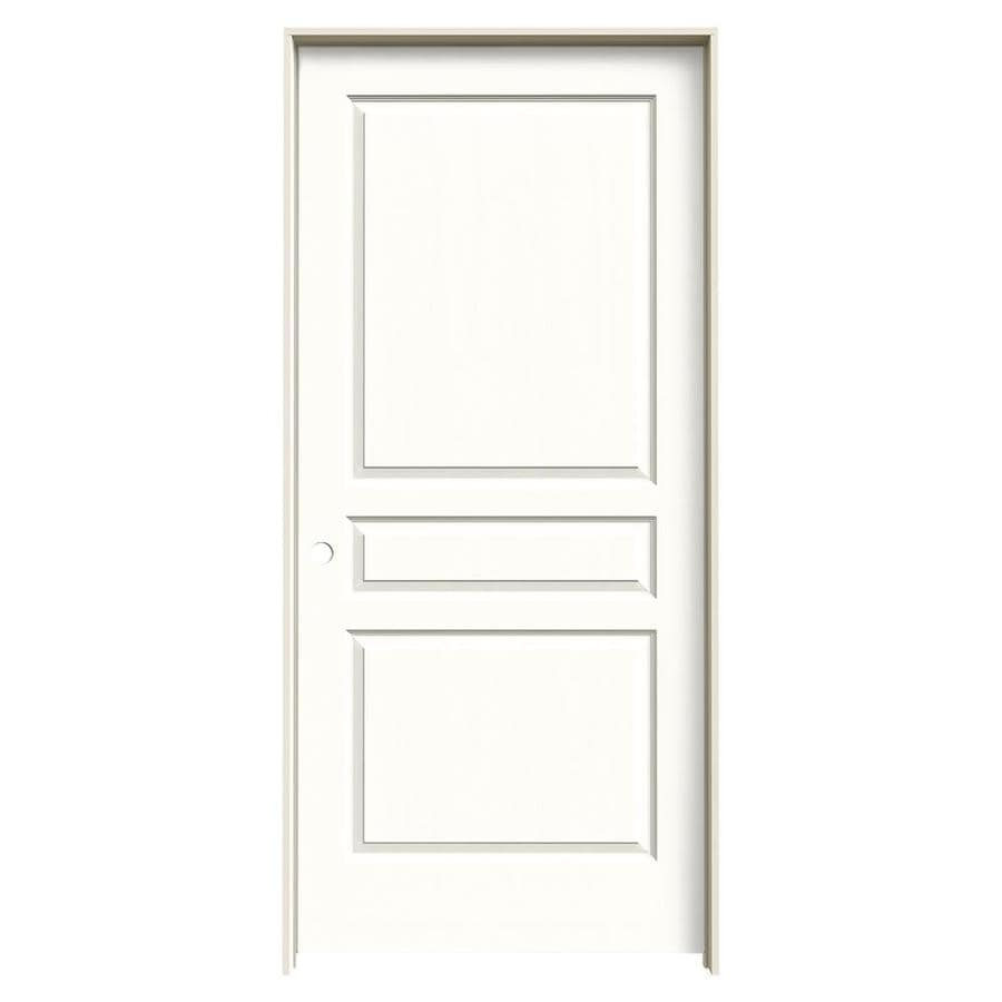 JELD-WEN Snow Storm Prehung Hollow Core 3-Panel Square Interior Door (Common: 36-in x 80-in; Actual: 37.562-in x 81.688-in)