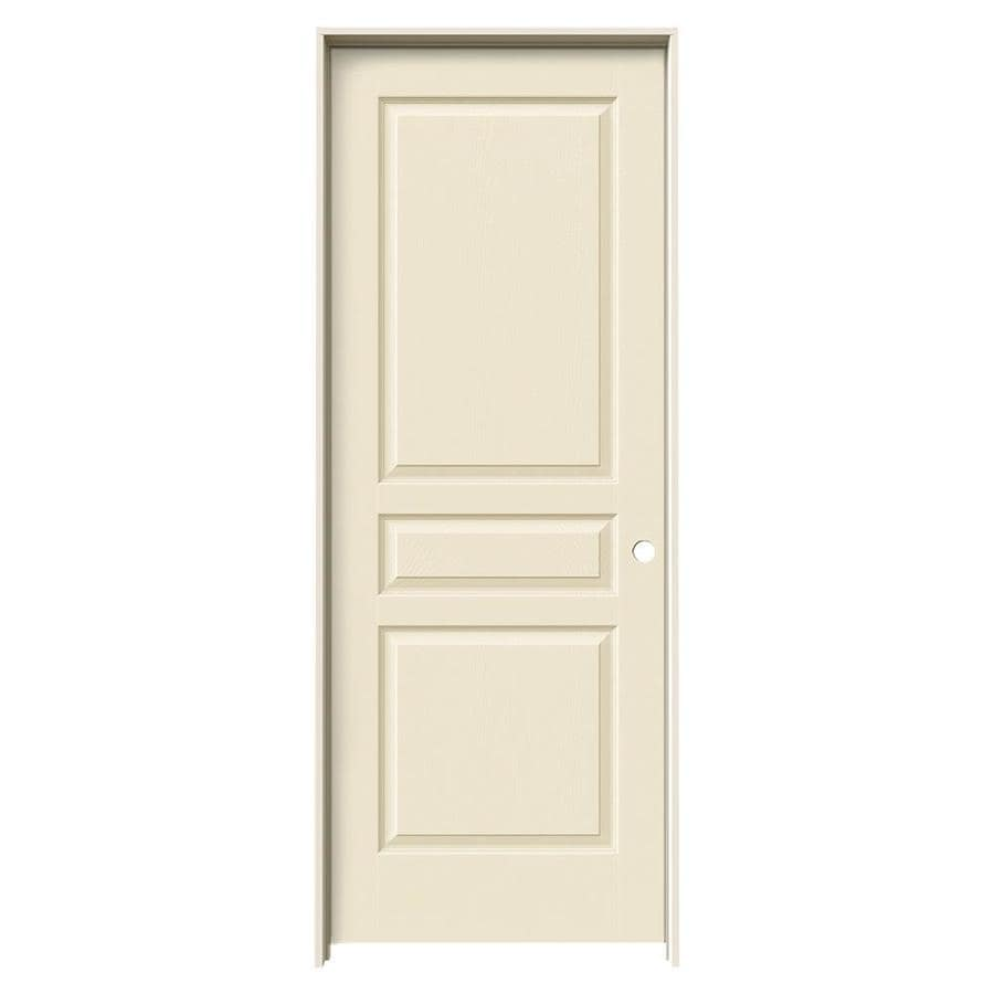 JELD-WEN Avalon Cream-n-sugar 3-panel Square Single Prehung Interior Door (Common: 32-in x 80-in; Actual: 33.562-in x 81.688-in)