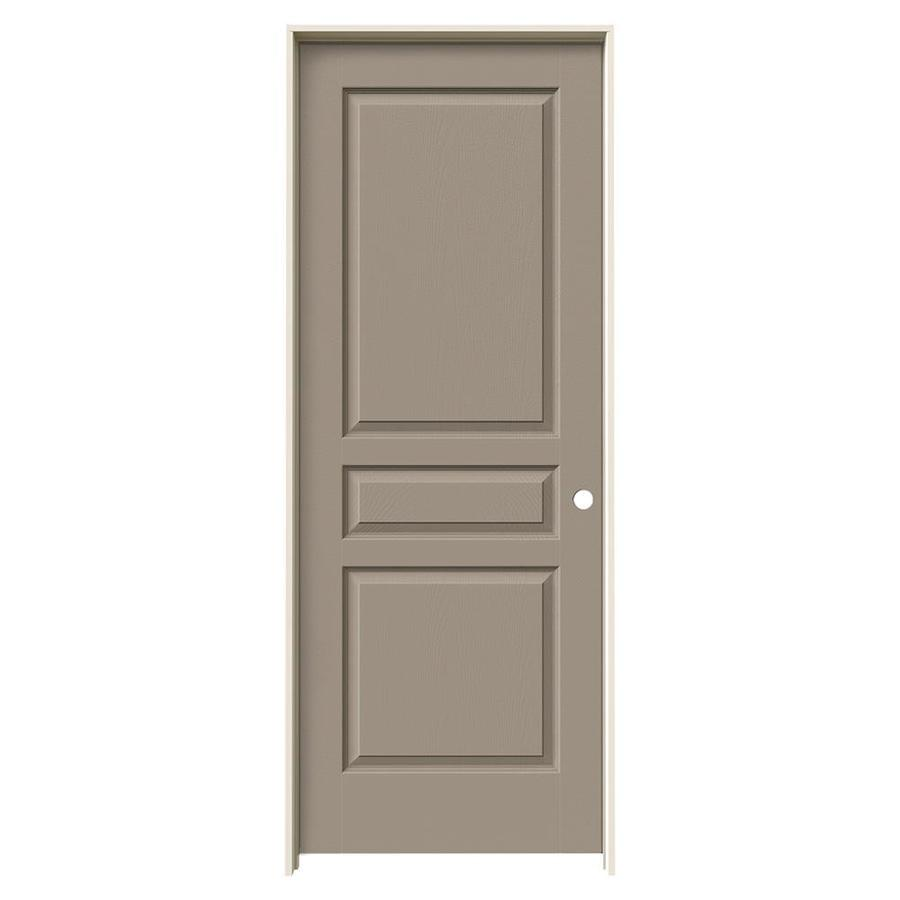 JELD-WEN Avalon Sand Piper 3-panel Square Single Prehung Interior Door (Common: 24-in x 80-in; Actual: 25.562-in x 81.688-in)