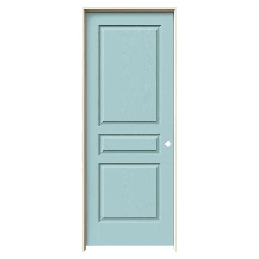 JELD-WEN Sea Mist Prehung Hollow Core 3-Panel Square Interior Door (Common: 30-in x 80-in; Actual: 31.562-in x 81.688-in)