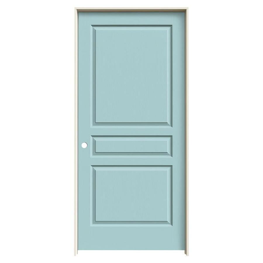 JELD-WEN Sea Mist Prehung Hollow Core 3-Panel Square Interior Door (Common: 36-in x 80-in; Actual: 37.562-in x 81.688-in)