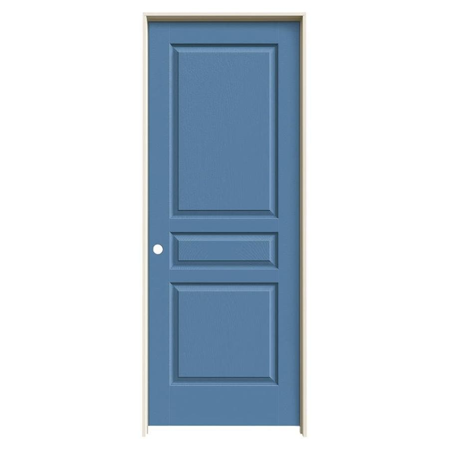 JELD-WEN Avalon Blue Heron 3-panel Square Single Prehung Interior Door (Common: 28-in x 80-in; Actual: 29.5620-in x 81.6880-in)
