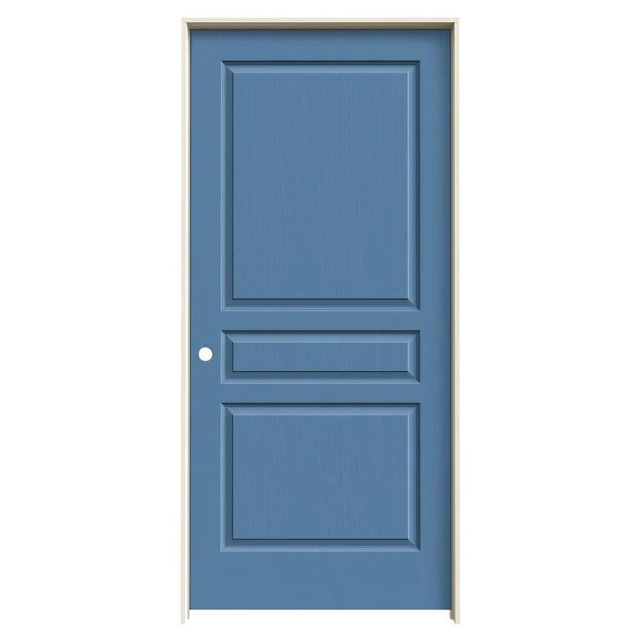 JELD-WEN Avalon Blue Heron 3-panel Square Single Prehung Interior Door (Common: 36-in x 80-in; Actual: 37.562-in x 81.688-in)