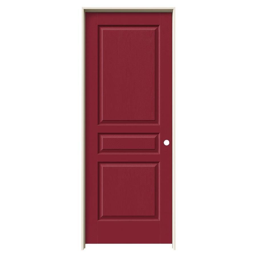 JELD-WEN Avalon Barn Red 3-panel Square Single Prehung Interior Door (Common: 28-in x 80-in; Actual: 29.562-in x 81.688-in)