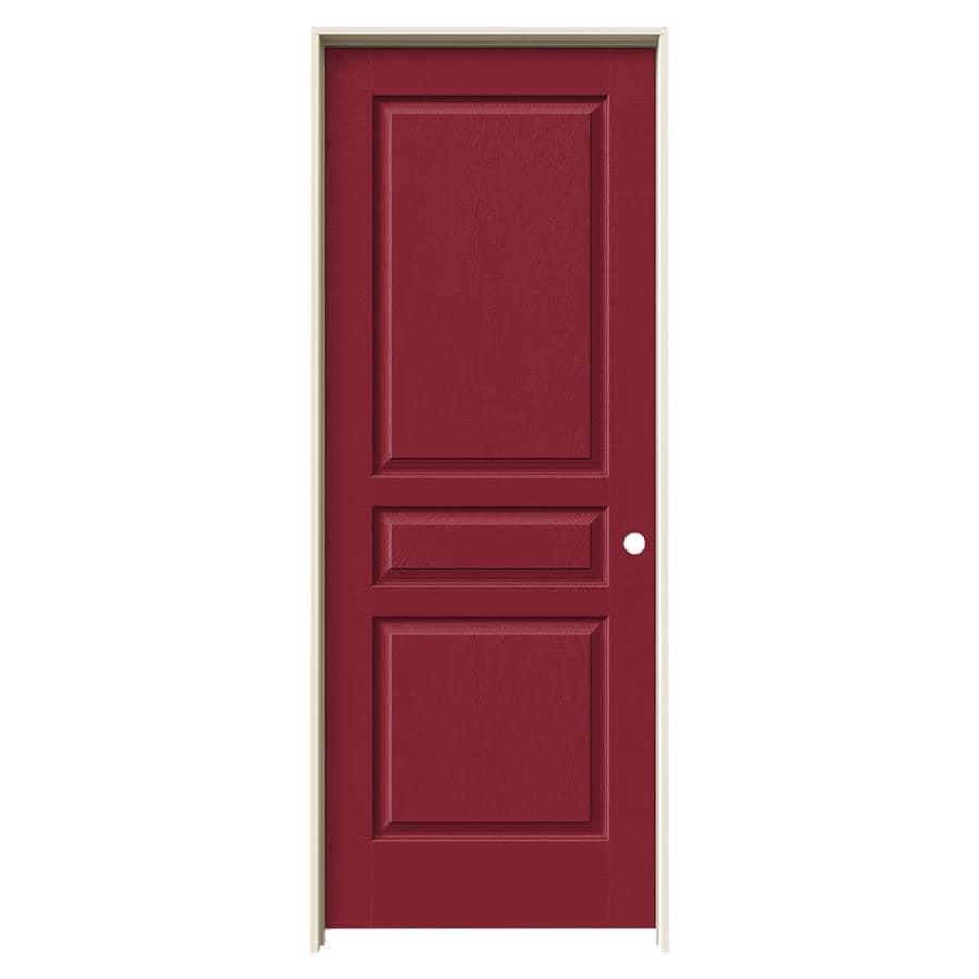 JELD-WEN Barn Red Prehung Hollow Core 3-Panel Square Interior Door (Common: 32-in x 80-in; Actual: 33.562-in x 81.688-in)