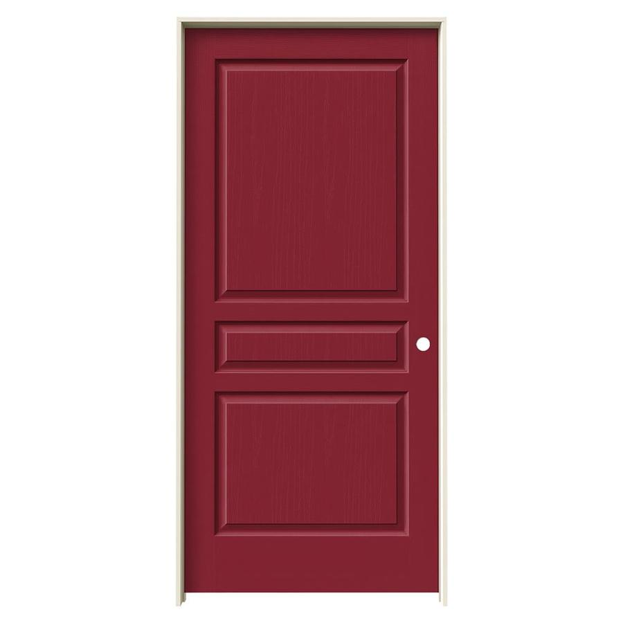 JELD-WEN Barn Red Prehung Hollow Core 3-Panel Square Interior Door (Common: 36-in x 80-in; Actual: 37.562-in x 81.688-in)
