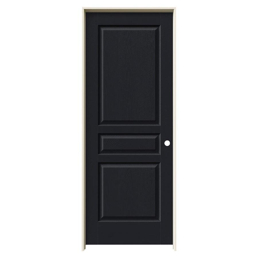 JELD-WEN Avalon Midnight 3-panel Square Single Prehung Interior Door (Common: 32-in x 80-in; Actual: 33.562-in x 81.688-in)