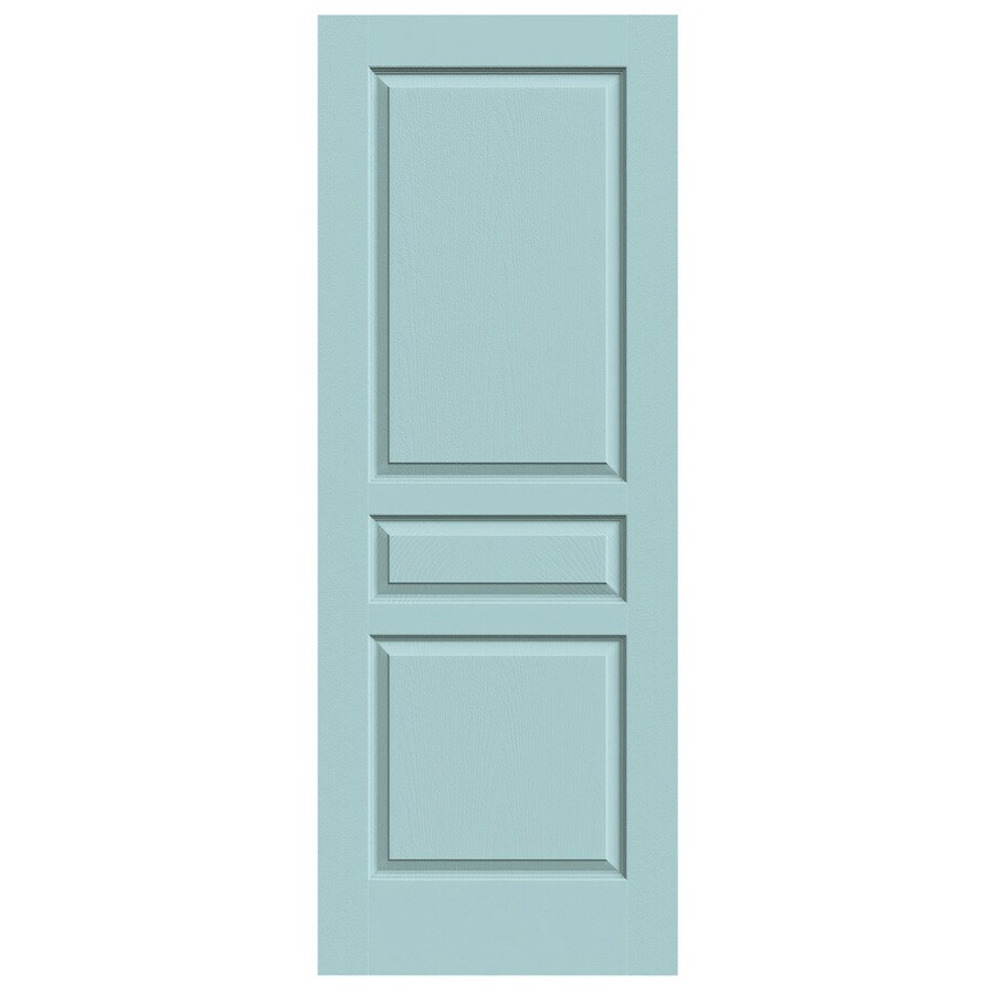 JELD-WEN Sea Mist Hollow Core 3-Panel Square Slab Interior Door (Common: 32-in x 80-in; Actual: 32-in x 80-in)