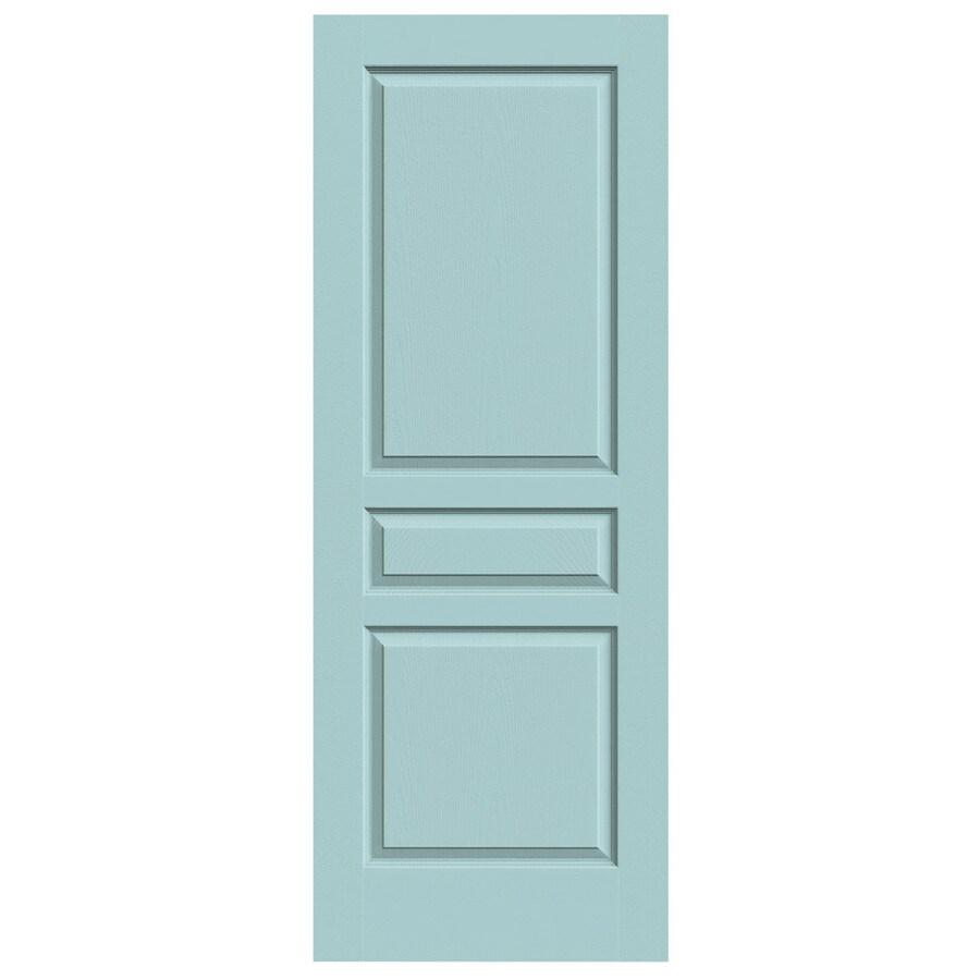 JELD-WEN Sea Mist Solid Core 3-Panel Square Slab Interior Door (Common: 24-in x 80-in; Actual: 24-in x 80-in)