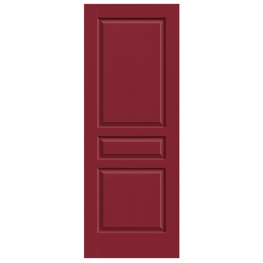 JELD-WEN Barn Red Solid Core 3-Panel Square Slab Interior Door (Common: 30-in x 80-in; Actual: 30-in x 80-in)