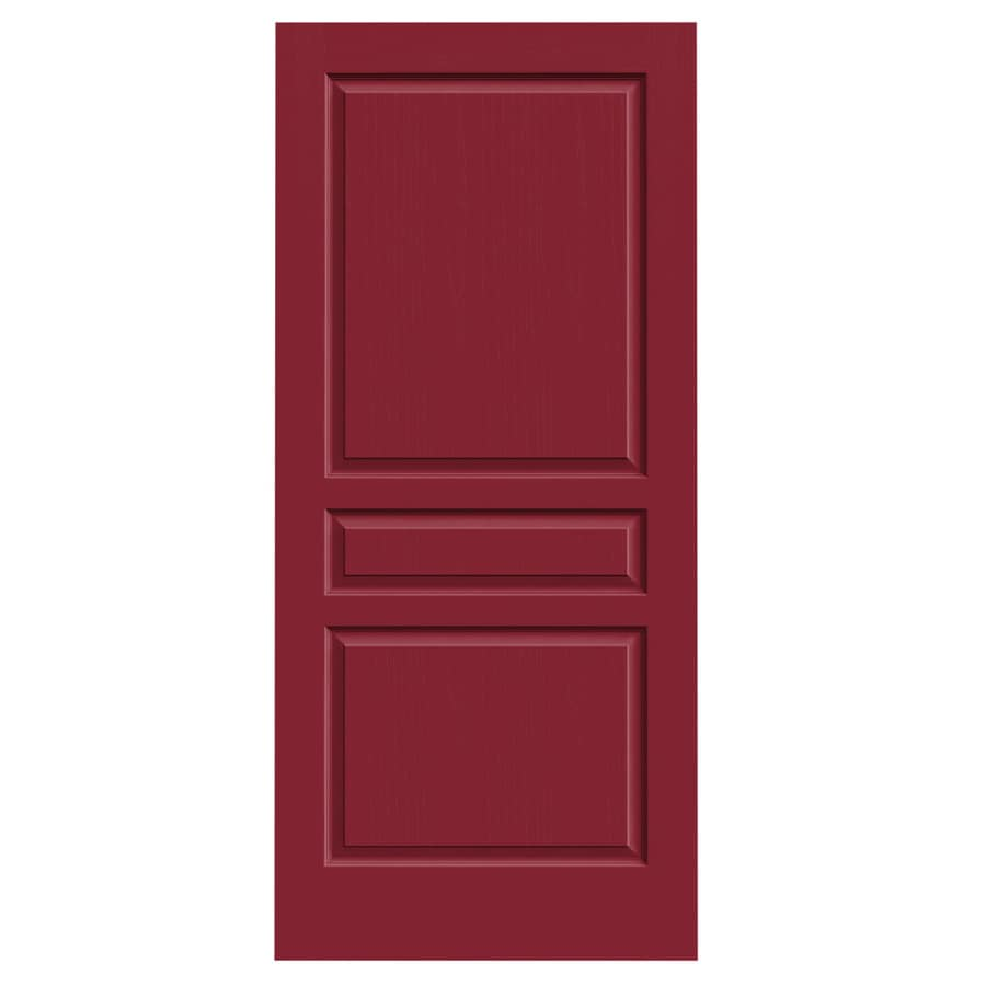 JELD-WEN Barn Red Solid Core 3-Panel Square Slab Interior Door (Common: 36-in x 80-in; Actual: 36-in x 80-in)