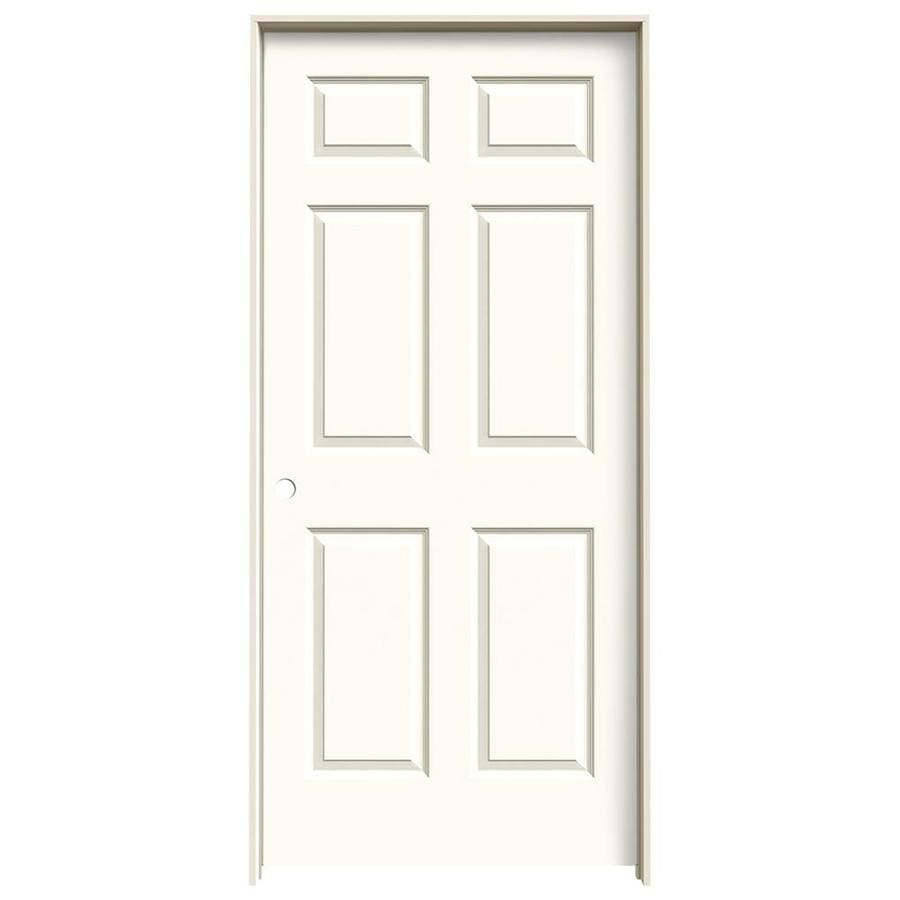 JELD-WEN White Prehung Hollow Core 6-Panel Interior Door (Common: 36-in x 80-in; Actual: 37.562-in x 81.688-in)