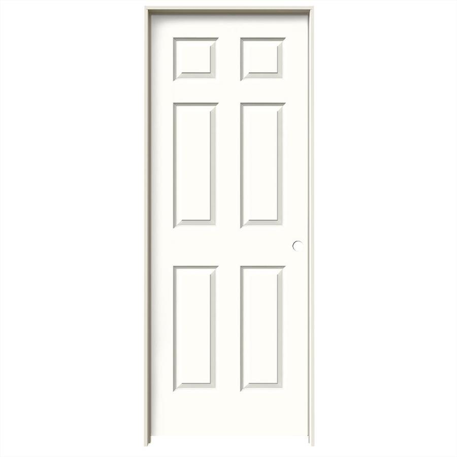 JELD-WEN Snow Storm 6-panel Single Prehung Interior Door (Common: 30-in x 80-in; Actual: 31.562-in x 81.688-in)