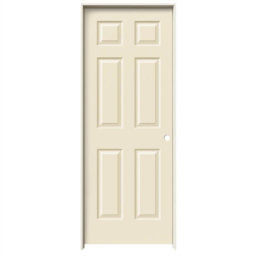 JELD-WEN Cream-N-Sugar Prehung Hollow Core 6-Panel Interior Door (Common: 28-in x 80-in; Actual: 29.562-in x 81.688-in)