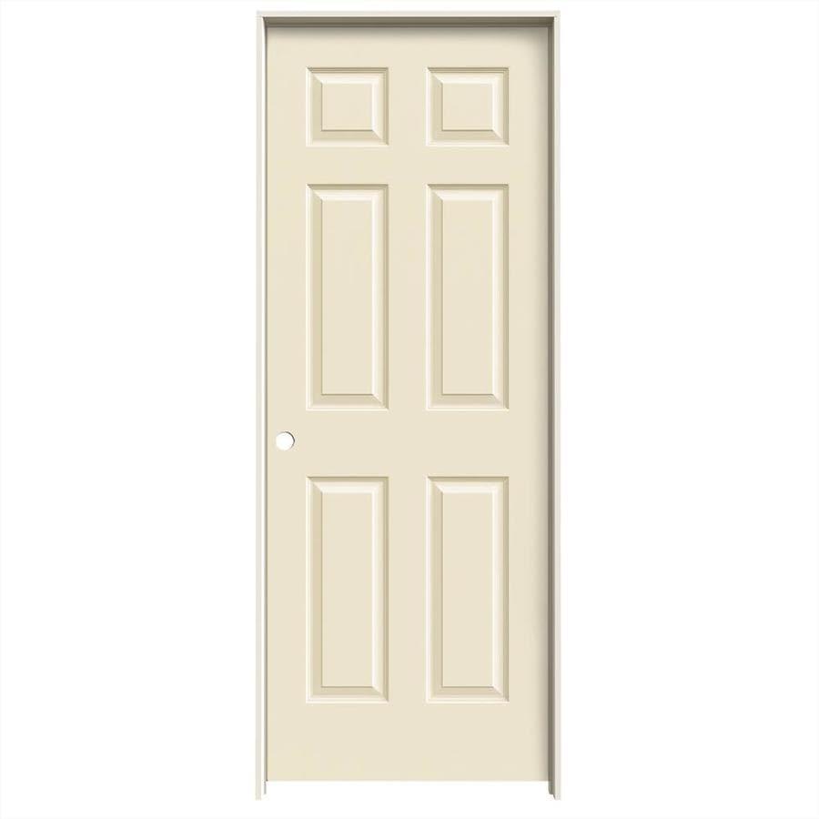 JELD-WEN Cream-N-Sugar Prehung Hollow Core 6-Panel Interior Door (Common: 30-in x 80-in; Actual: 31.562-in x 81.688-in)