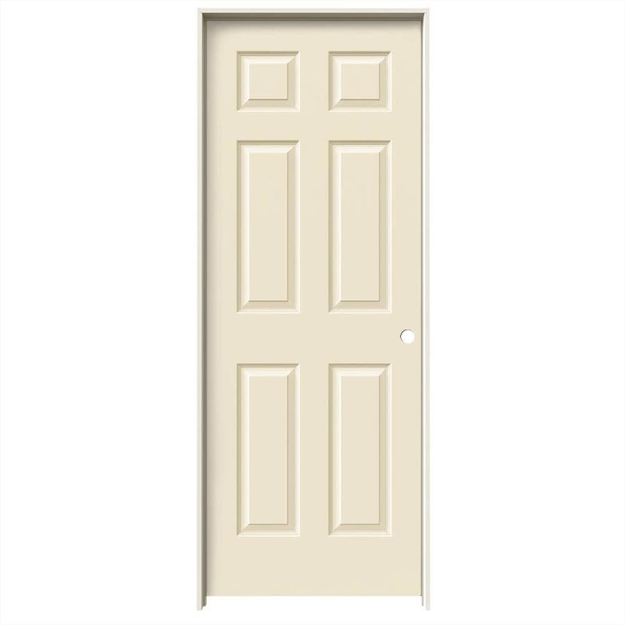 JELD-WEN Cream-N-Sugar Prehung Hollow Core 6-Panel Interior Door (Common: 32-in x 80-in; Actual: 33.562-in x 81.688-in)