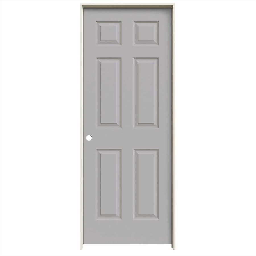 JELD-WEN Driftwood 6-panel Single Prehung Interior Door (Common: 28-in x 80-in; Actual: 29.562-in x 81.688-in)