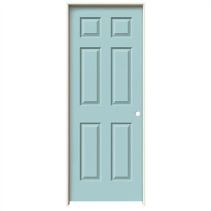 JELD-WEN Sea Mist Prehung Hollow Core 6-Panel Interior Door (Common: 30-in x 80-in; Actual: 31.562-in x 81.688-in)