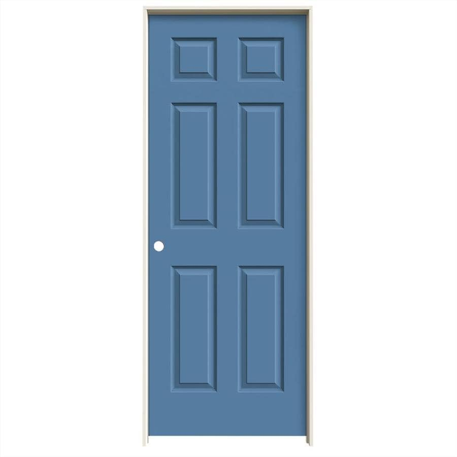 JELD-WEN Colonist Blue Heron Hollow Core Molded Composite Single Prehung Interior Door (Common: 32-in x 80-in; Actual: 33.5620-in x 81.6880-in)