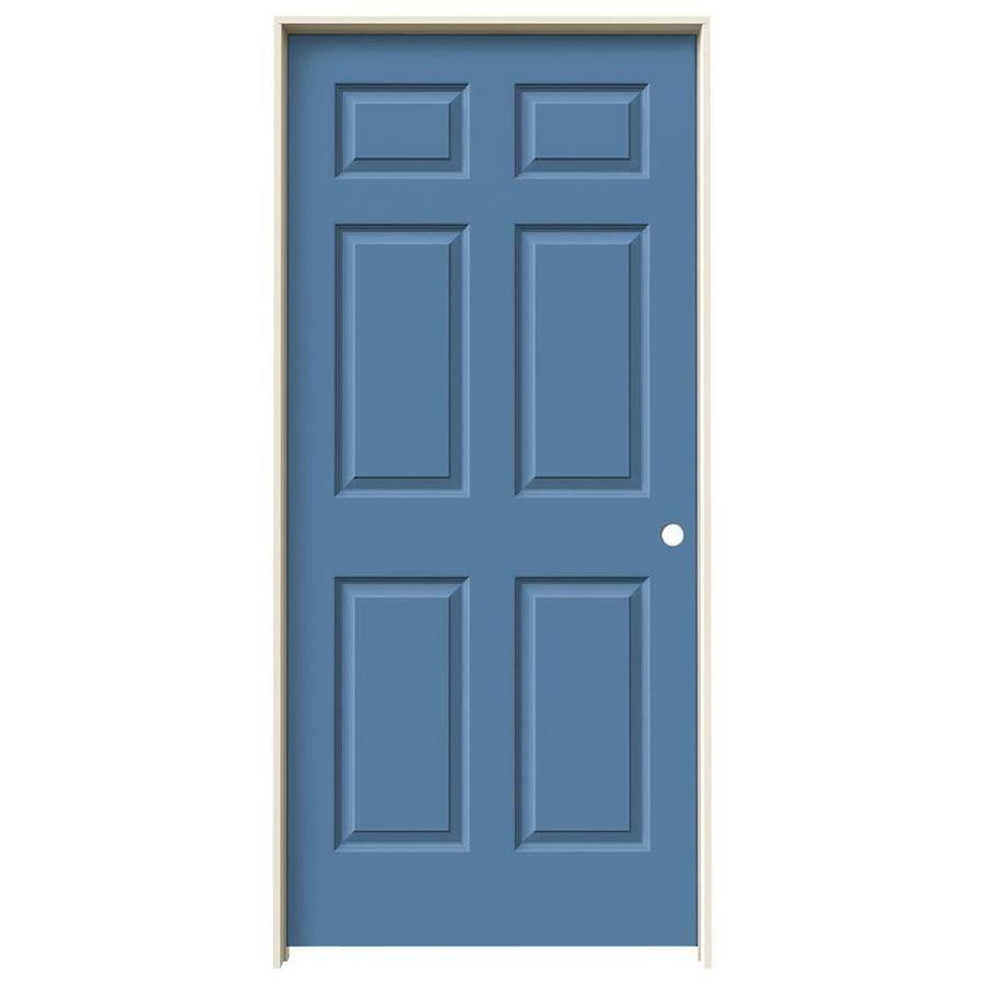 JELD-WEN Colonist Blue Heron Single Prehung Interior Door (Common: 36-in x 80-in; Actual: 37.5620-in x 81.6880-in)