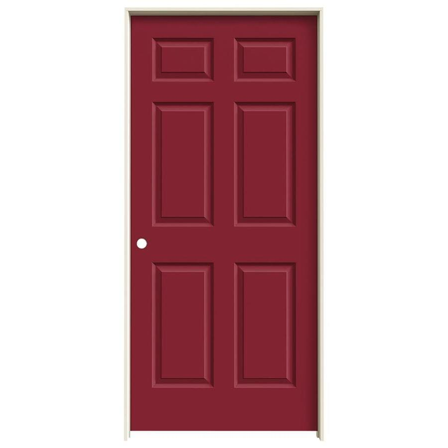 JELD-WEN Barn Red Prehung Hollow Core 6-Panel Interior Door (Common: 36-in x 80-in; Actual: 37.562-in x 81.688-in)
