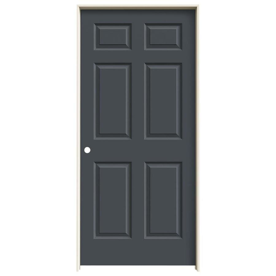 JELD-WEN Slate Prehung Hollow Core 6-Panel Interior Door (Common: 36-in x 80-in; Actual: 37.562-in x 81.688-in)