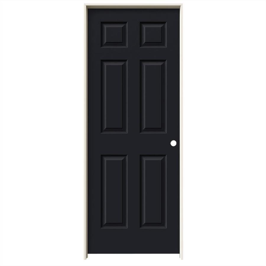 JELD-WEN Midnight 6-panel Single Prehung Interior Door (Common: 32-in x 80-in; Actual: 33.562-in x 81.688-in)