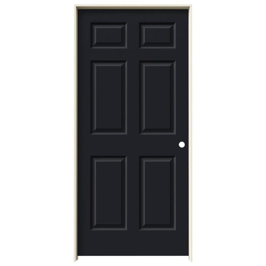 JELD-WEN Midnight 6-panel Single Prehung Interior Door (Common: 36-in x 80-in; Actual: 37.562-in x 81.688-in)