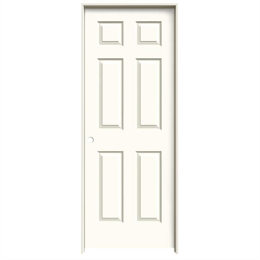 JELD-WEN White Prehung Solid Core 6-Panel Interior Door (Common: 30-in x 80-in; Actual: 31.562-in x 81.688-in)