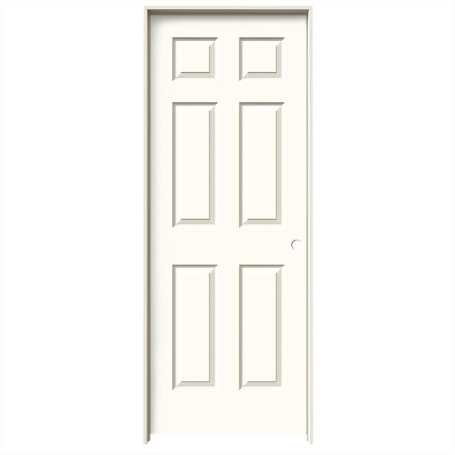 JELD-WEN White Prehung Solid Core 6-Panel Interior Door (Common: 30-in x 80-in; Actual: 31.562-in x 81.688-in)