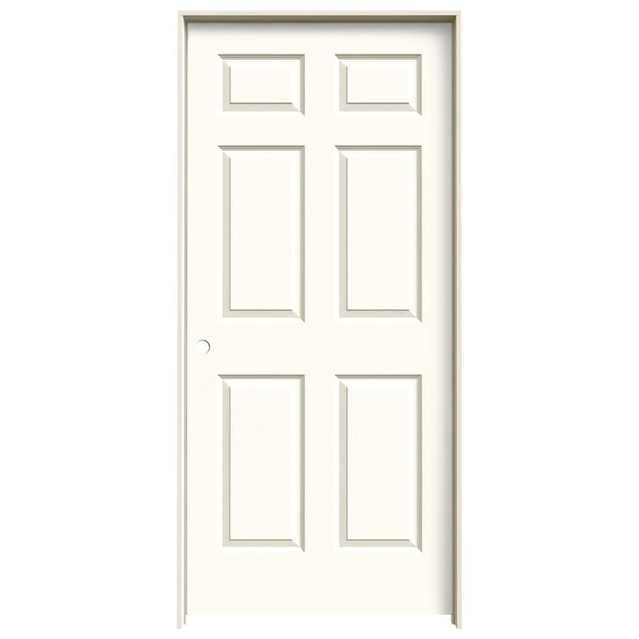 JELD-WEN White Prehung Solid Core 6-Panel Interior Door (Common: 36-in x 80-in; Actual: 37.562-in x 81.688-in)