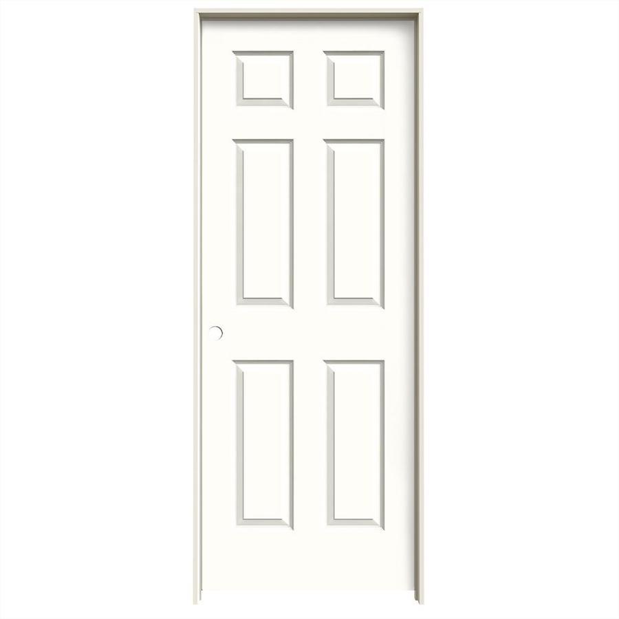 JELD-WEN Snow Storm 6-panel Single Prehung Interior Door (Common: 32-in x 80-in; Actual: 33.562-in x 81.688-in)