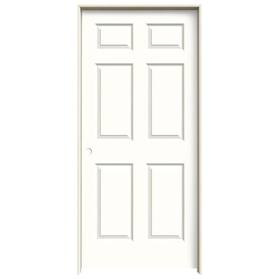 JELD-WEN Snow Storm 6-panel Single Prehung Interior Door (Common: 36-in x 80-in; Actual: 37.562-in x 81.688-in)