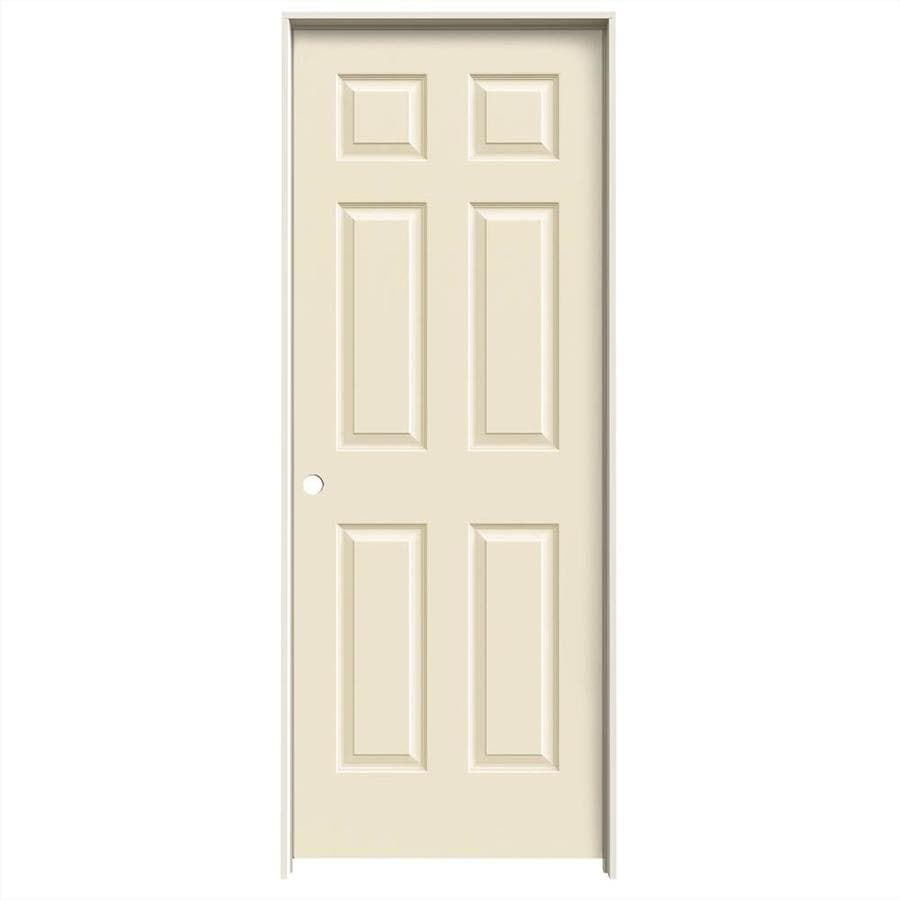 JELD-WEN Cream-n-sugar 6-panel Single Prehung Interior Door (Common: 24-in x 80-in; Actual: 25.562-in x 81.688-in)