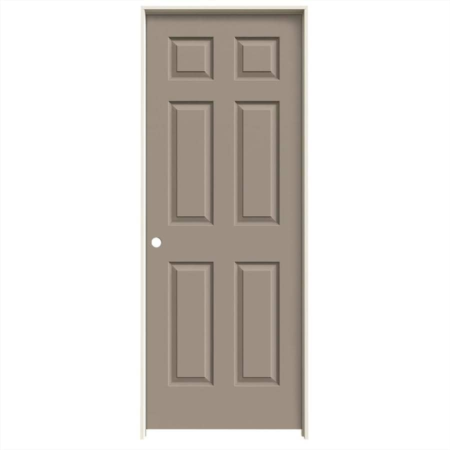 JELD-WEN Sand Piper Prehung Solid Core 6-Panel Interior Door (Actual: 81.688-in x 33.562-in)
