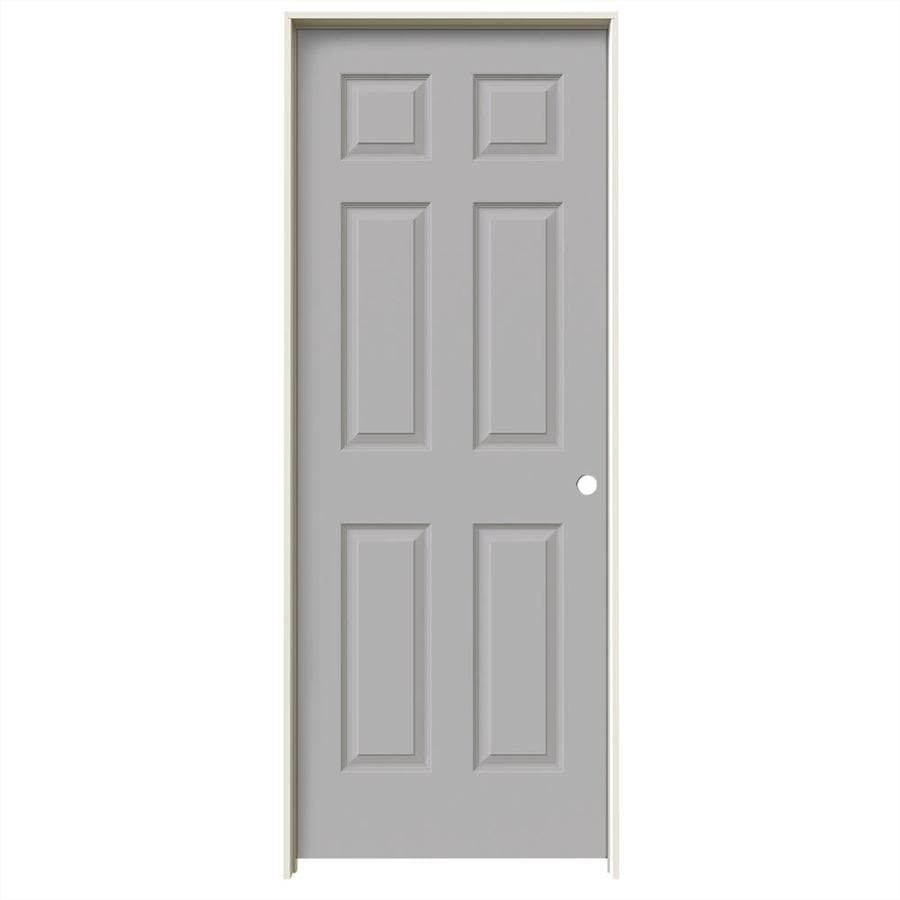 JELD-WEN Driftwood Prehung Solid Core 6-Panel Interior Door (Common: 32-in x 80-in; Actual: 33.562-in x 81.688-in)