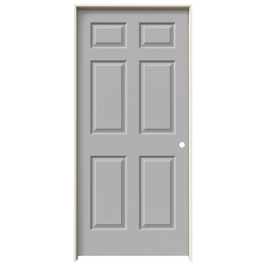 JELD-WEN Driftwood Prehung Solid Core 6-Panel Interior Door (Common: 36-in x 80-in; Actual: 37.562-in x 81.688-in)