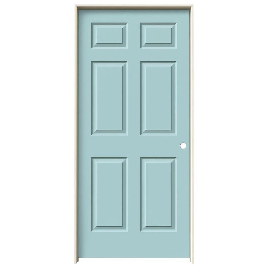 JELD-WEN Sea Mist Prehung Solid Core 6-Panel Interior Door (Common: 36-in x 80-in; Actual: 37.562-in x 81.688-in)