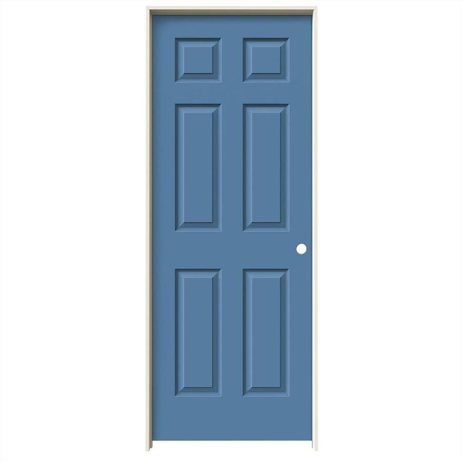 JELD-WEN Colonist Blue Heron Single Prehung Interior Door (Common: 28-in x 80-in; Actual: 29.562-in x 81.688-in)