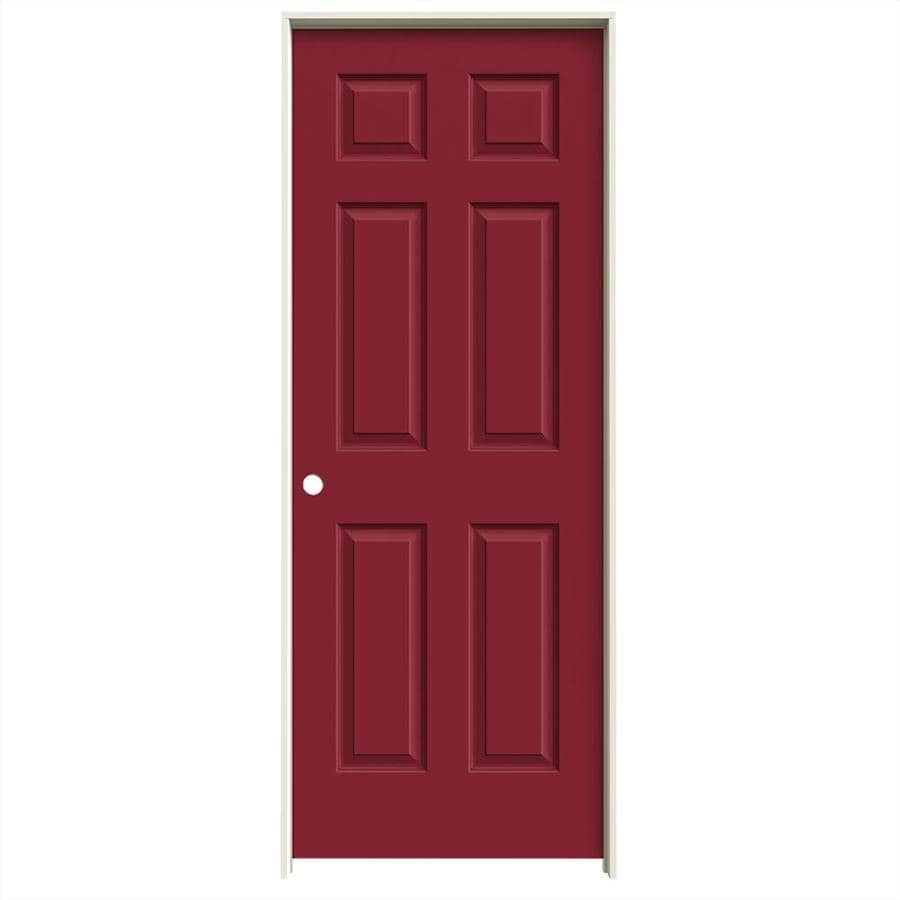 JELD-WEN Barn Red Prehung Solid Core 6-Panel Interior Door (Common: 30-in x 80-in; Actual: 31.562-in x 81.688-in)