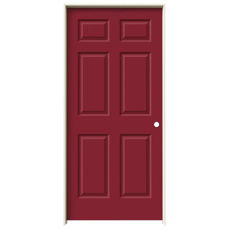 JELD-WEN Barn Red Prehung Solid Core 6-Panel Interior Door (Common: 36-in x 80-in; Actual: 37.562-in x 81.688-in)