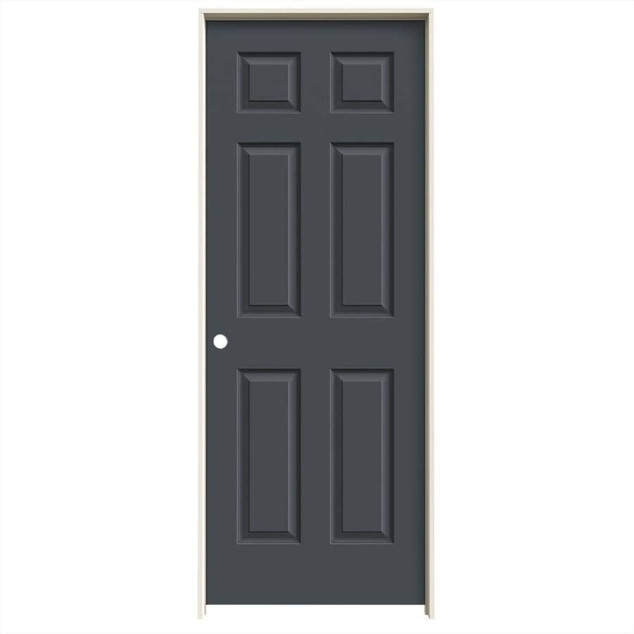 JELD-WEN Slate Prehung Solid Core 6-Panel Interior Door (Common: 32-in x 80-in; Actual: 33.562-in x 81.688-in)