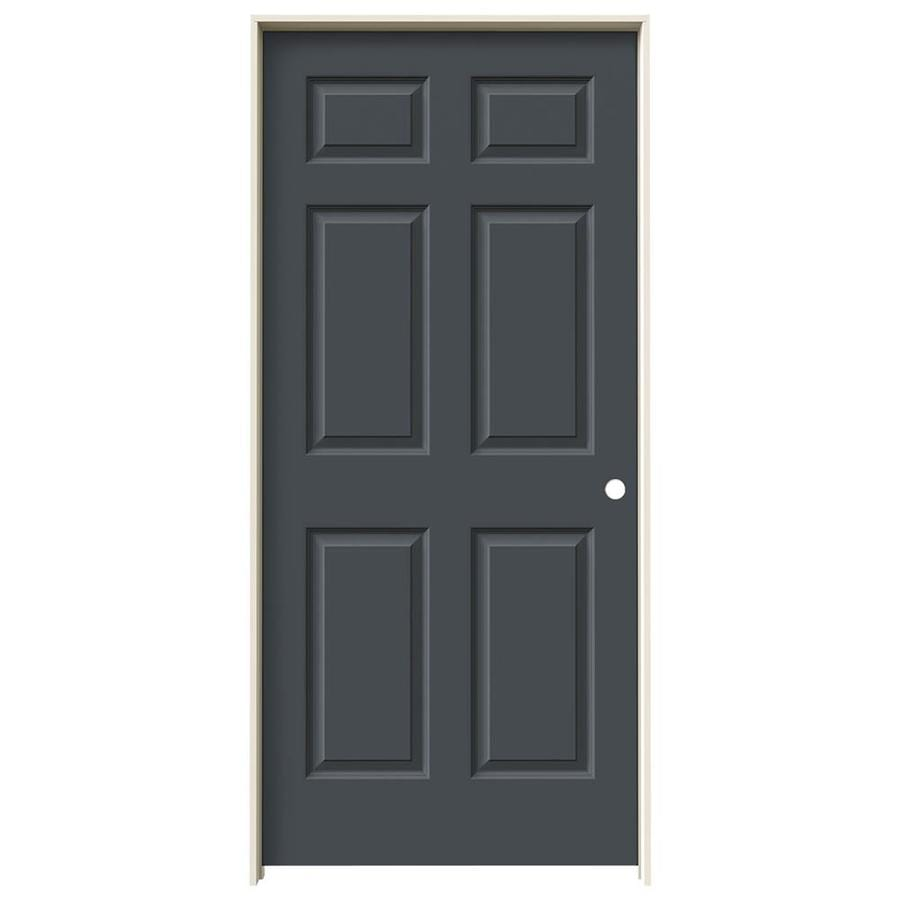 JELD-WEN Slate Prehung Solid Core 6-Panel Interior Door (Common: 36-in x 80-in; Actual: 37.562-in x 81.688-in)