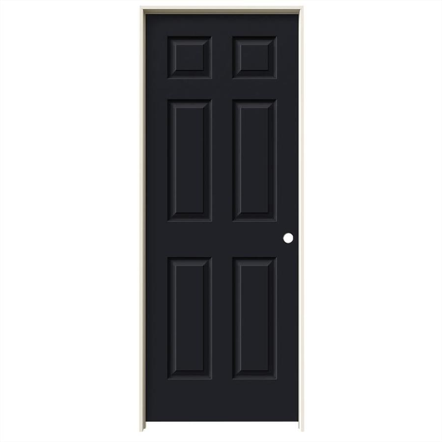JELD-WEN Midnight Prehung Solid Core 6-Panel Interior Door (Common: 28-in x 80-in; Actual: 29.562-in x 81.688-in)