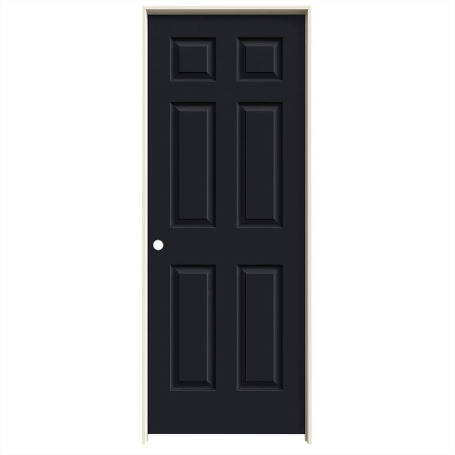 JELD-WEN Midnight Prehung Solid Core 6-Panel Interior Door (Common: 30-in x 80-in; Actual: 31.562-in x 81.688-in)