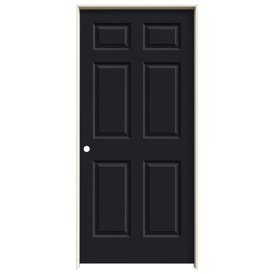 JELD-WEN Midnight Prehung Solid Core 6-Panel Interior Door (Common: 36-in x 80-in; Actual: 37.562-in x 81.688-in)