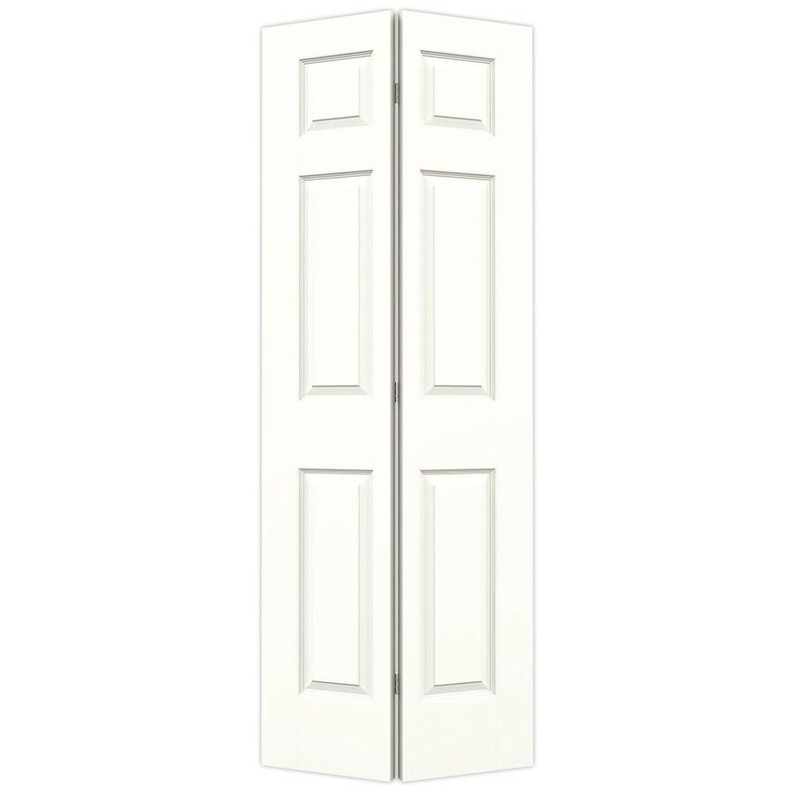 JELD-WEN Colonist Snow Storm Hollow Core Molded Composite Bi-Fold Closet Interior Door with Hardware (Common: 28-in x 80-in; Actual: 27.5000-in x 79-in)