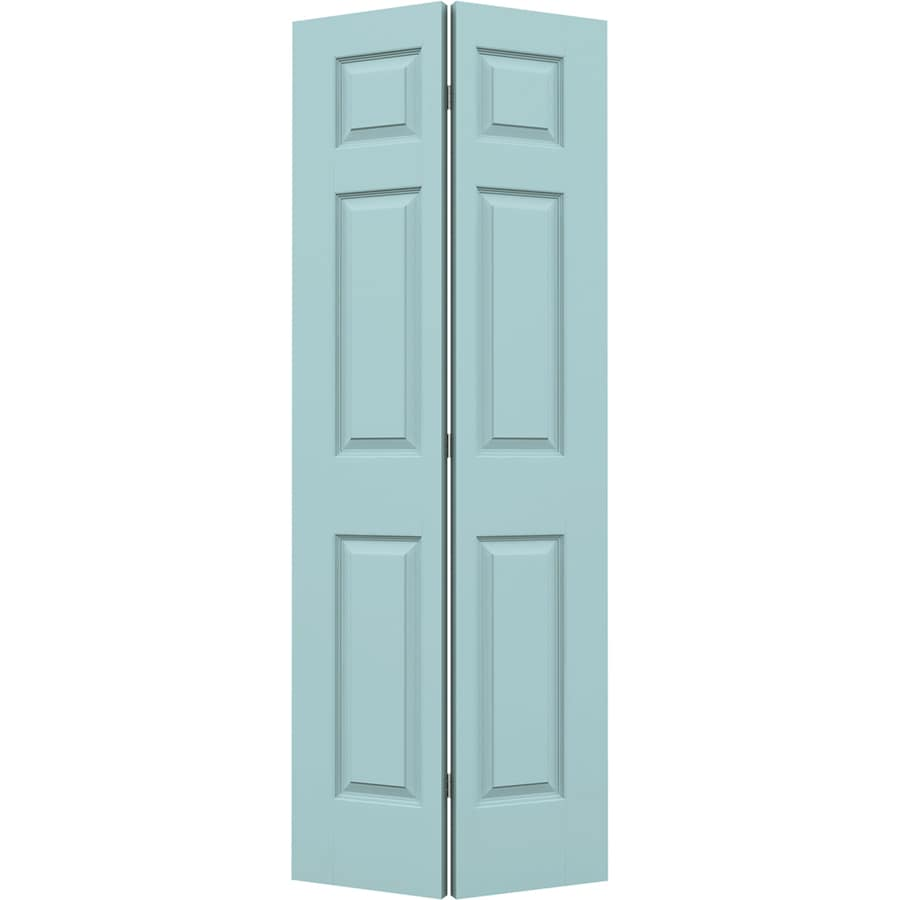 JELD-WEN Sea Mist Hollow Core 6-Panel Bi-Fold Closet Interior Door (Common: 28-in x 80-in; Actual: 27.5-in x 79-in)