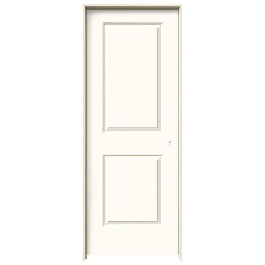 Shop jeld wen cambridge white 2 panel square single for Prehung interior doors