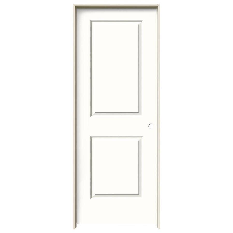 JELD-WEN Cambridge Snow Storm 2-panel Square Single Prehung Interior Door (Common: 28-in x 80-in; Actual: 29.562-in x 81.688-in)